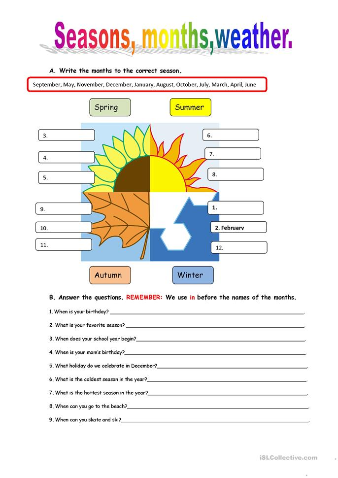 Seasons and weather worksheet - Free ESL printable ...