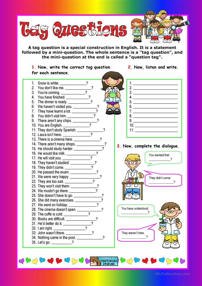 Esl+Questions+Worksheet 38 FREE ESL tag questions worksheets