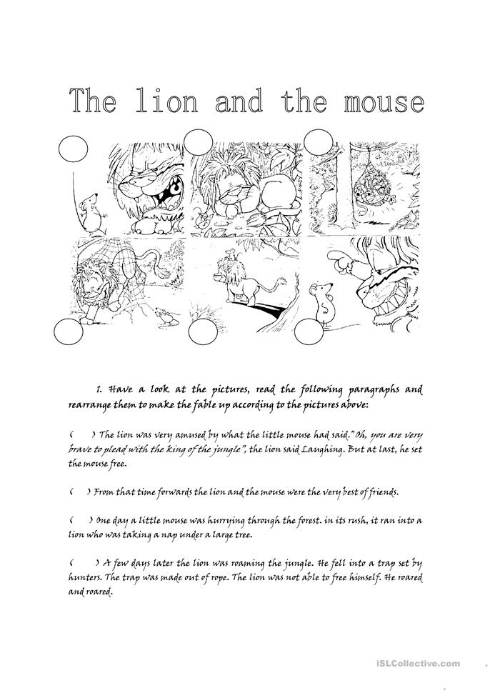 Printables The Lion And The Mouse Worksheets the lion and mouse worksheet free esl printable worksheets made by teachers