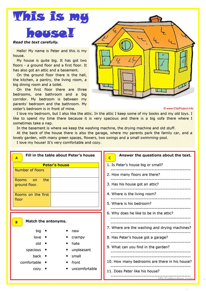 This is my house  - ESL worksheets
