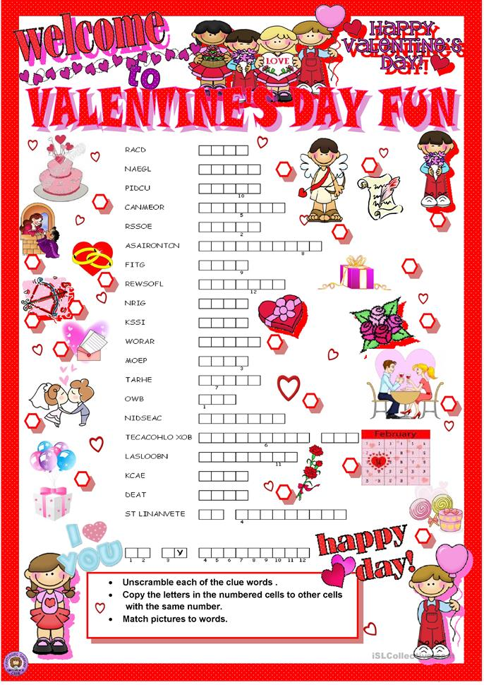 valentine 39 s day crosswords worksheet free esl printable worksheets made by teachers. Black Bedroom Furniture Sets. Home Design Ideas