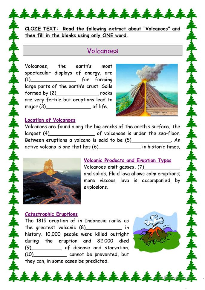 Volcanoes worksheet - Free ESL printable worksheets made ...
