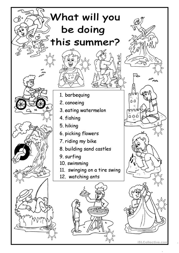 All Worksheets esl summer worksheets : What will you be doing this summer? worksheet - Free ESL printable ...