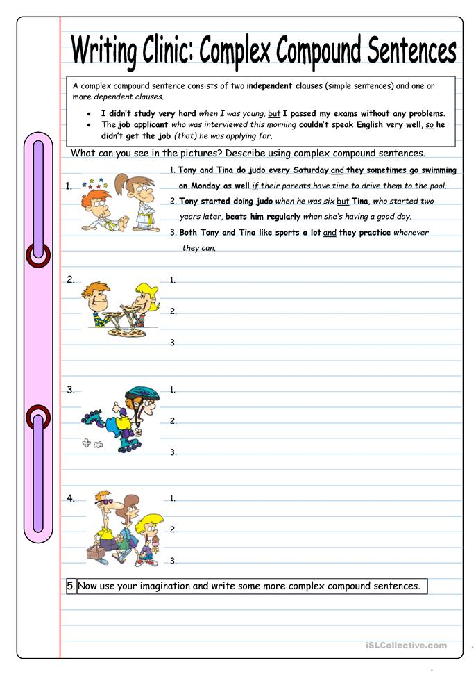 Writing Clinic Complex Compound Sentences Worksheet