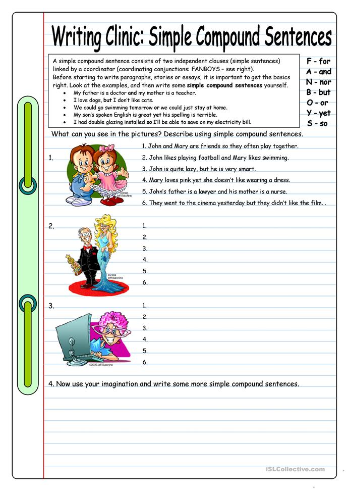 Worksheets Simple And Compound Sentences Worksheet 11 free esl compound sentences worksheets writing clinic simple sentences