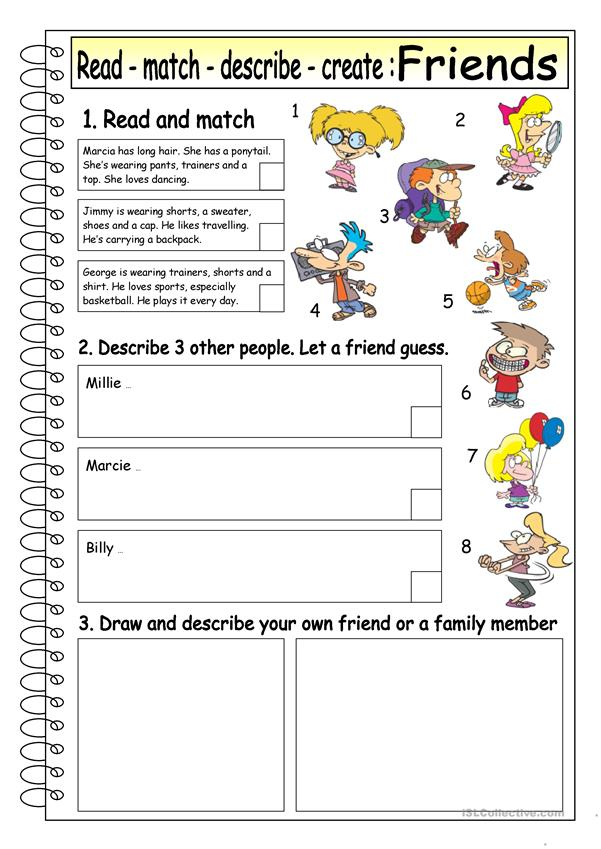 Read Match Describe Create Friends 4 Worksheet