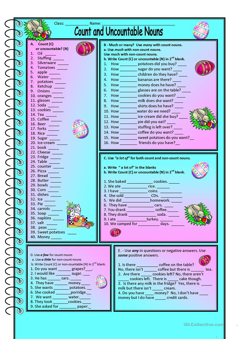 Count and Noncount nouns - English ESL Worksheets