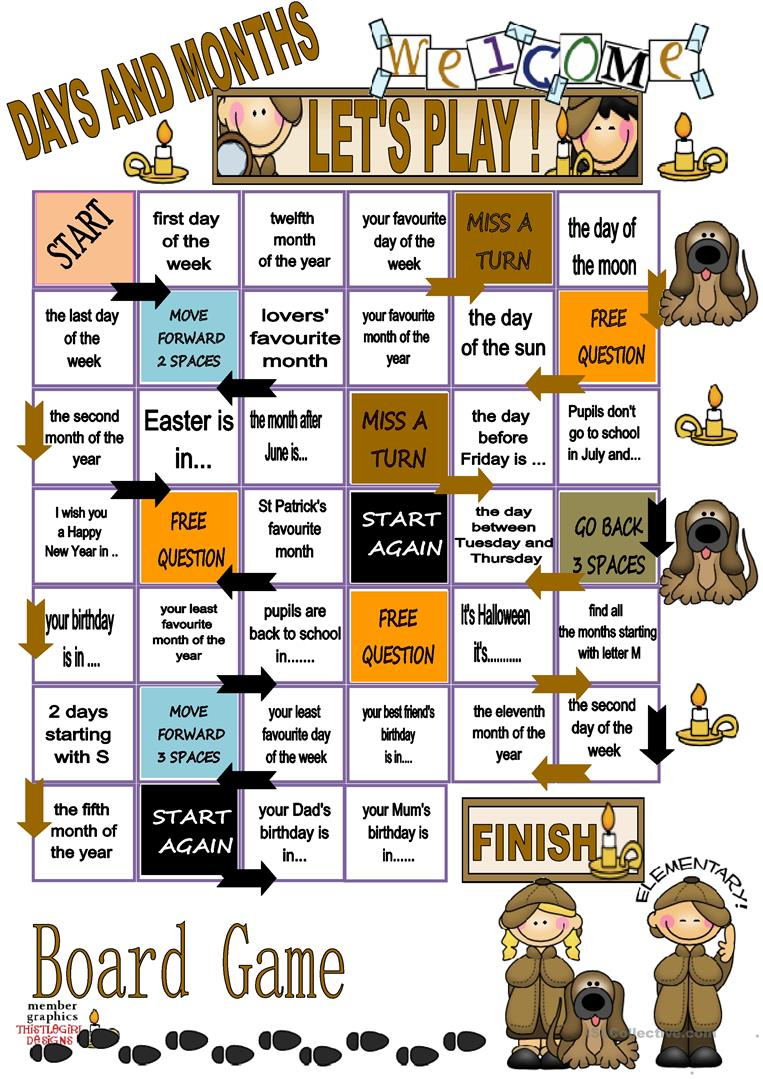 days and months board game worksheet free esl printable days and months board game worksheet free esl printable - Esl Halloween Games