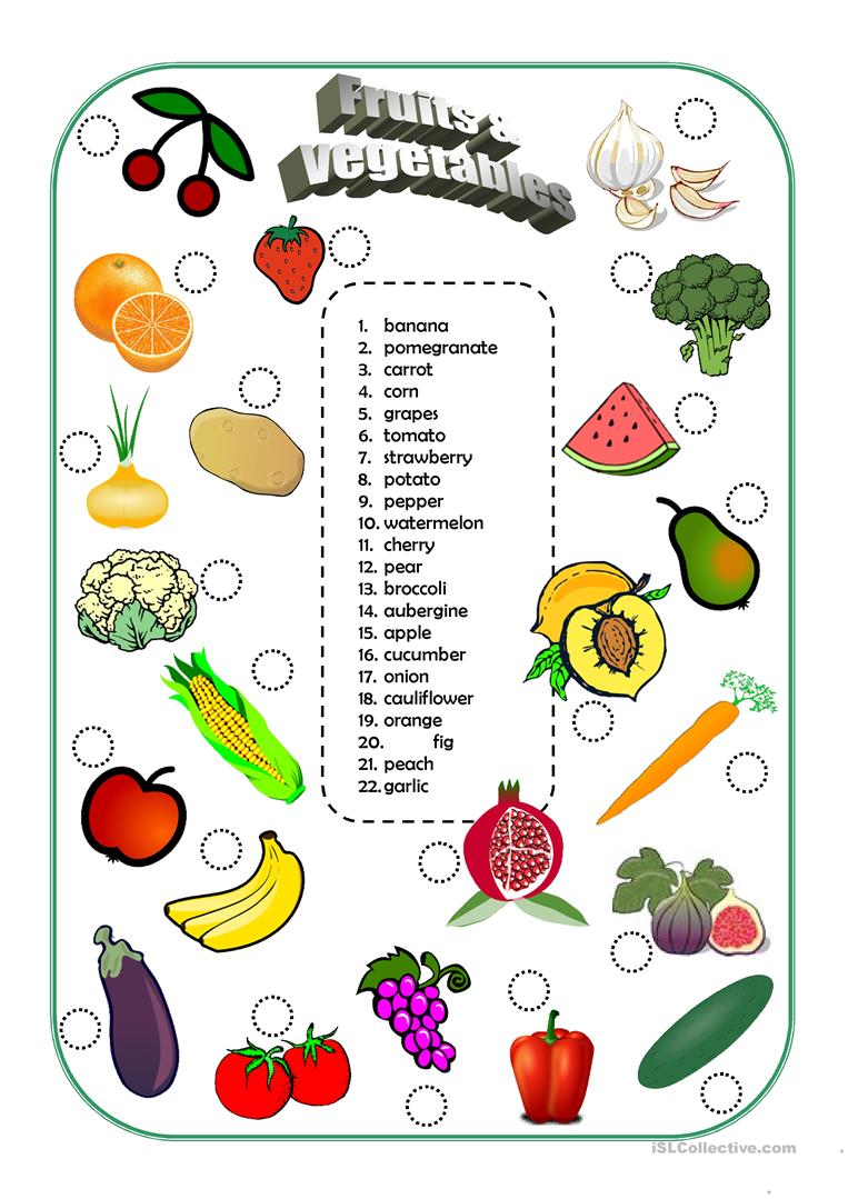 156 free esl fruits worksheets