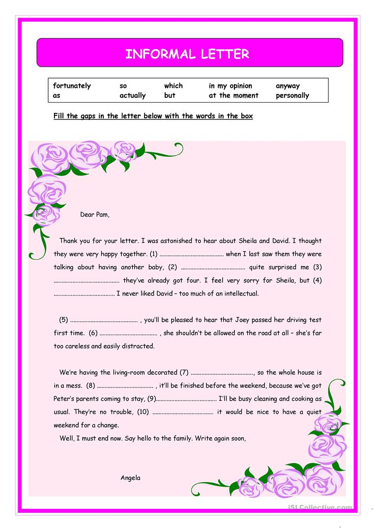 17 free esl informal letter worksheets informal letter sample spiritdancerdesigns Choice Image