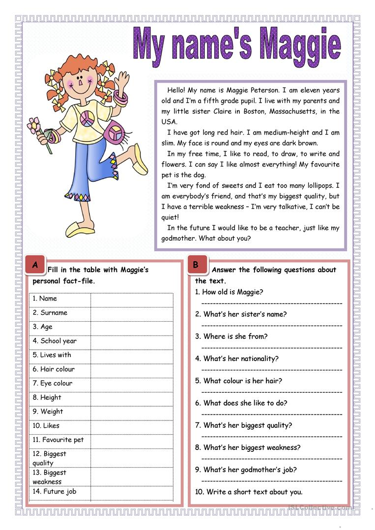 English Worksheets For Teachers : My name s maggie worksheet free esl printable worksheets