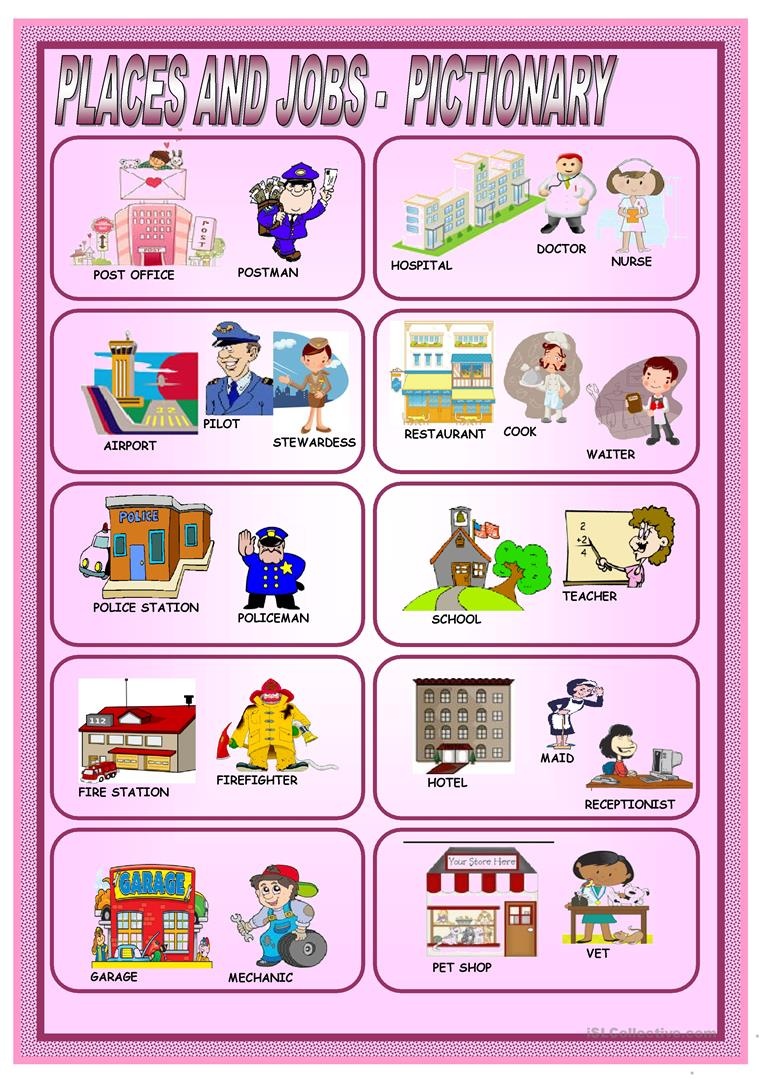 places and jobs pictionary worksheet free esl printable worksheets made by teachers. Black Bedroom Furniture Sets. Home Design Ideas
