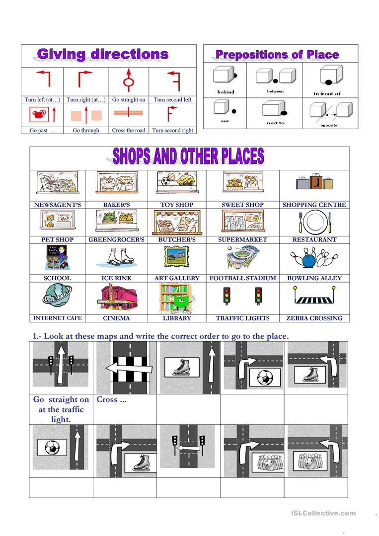 places giving directions worksheet free esl printable worksheets made by teachers. Black Bedroom Furniture Sets. Home Design Ideas