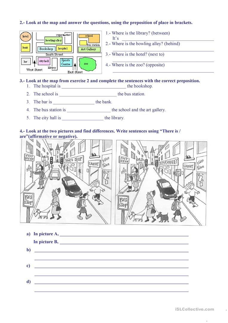places  giving directions worksheet