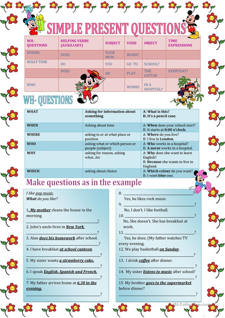 191 FREE ESL question words worksheets