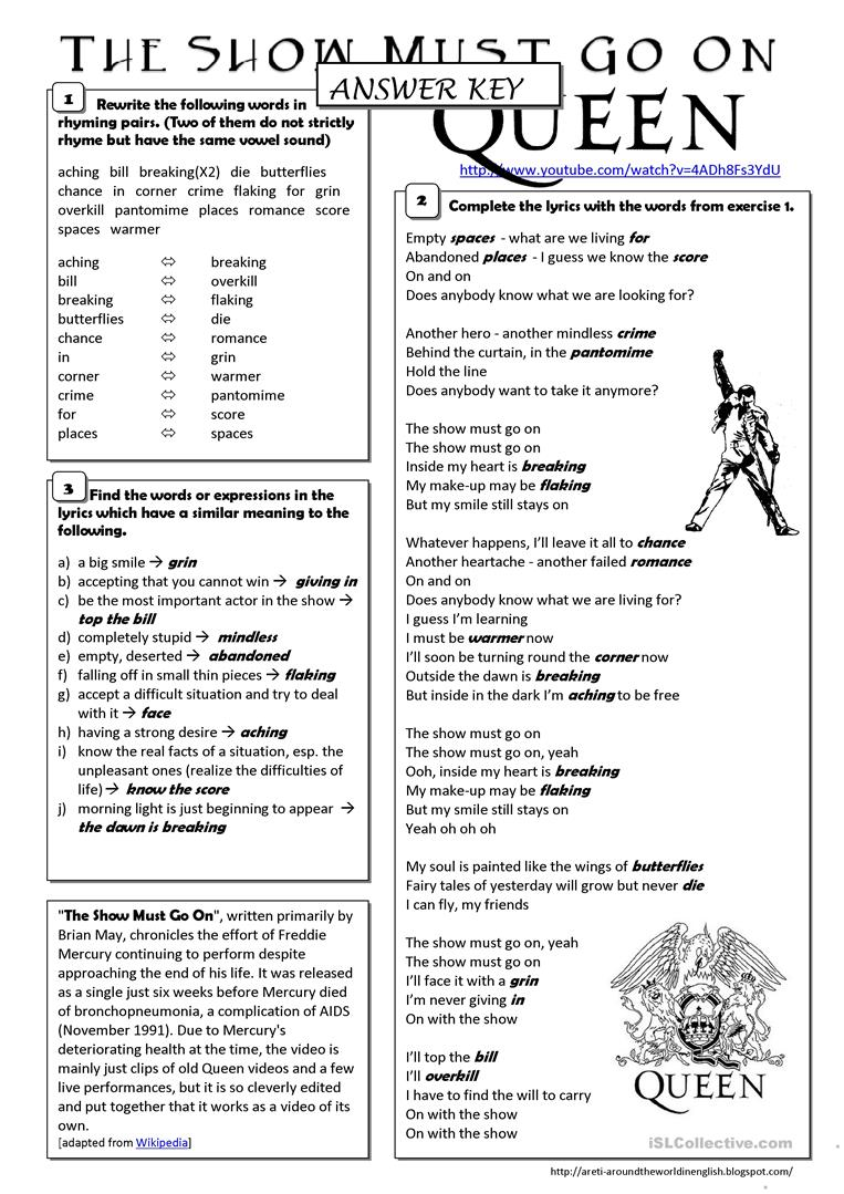Song Worksheet What Does The Fox Say By Ylvis: (song) The Show Must Go On