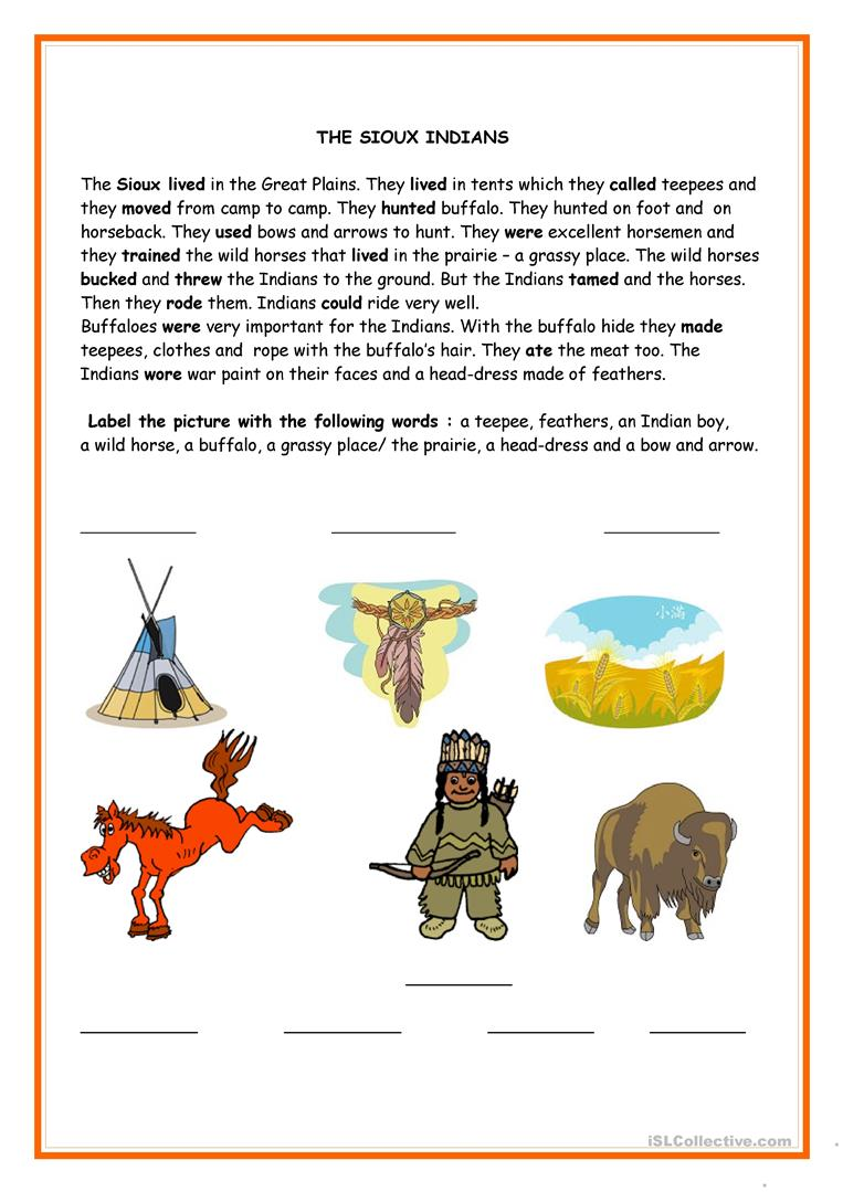 The Sioux Indians - English ESL Worksheets