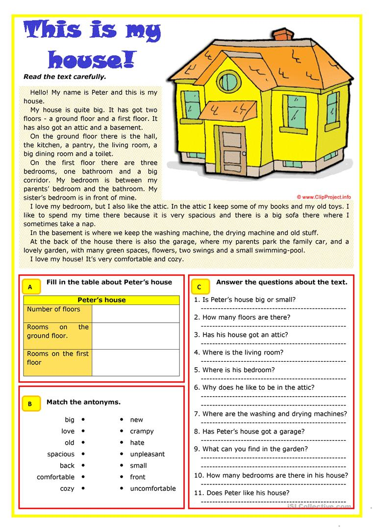 This Is My House Worksheet Free Esl Printable Worksheets