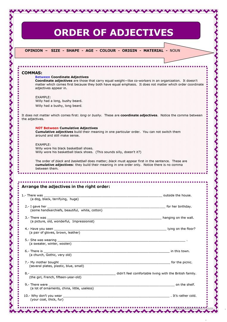 Uncategorized Order Of Adjectives Worksheet 21 free esl order of adjectives worksheets word adjectives