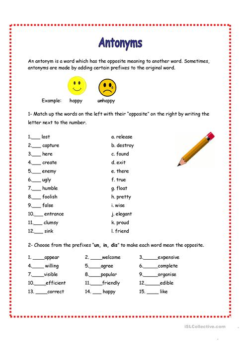 Antonyms Review Worksheet Free Esl Printable Worksheets Made By