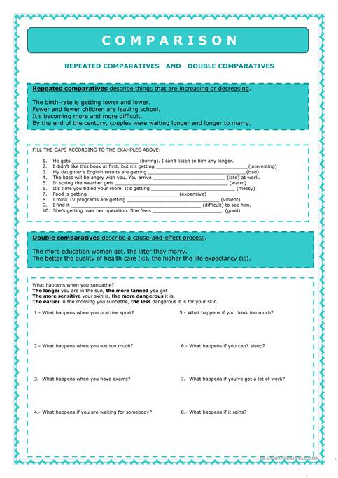 Comparison - Repeated Comparative and double comparatives worksheet ...