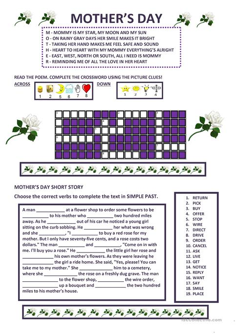 Mothers Day Worksheet Free Esl Printable Worksheets Made By Teachers