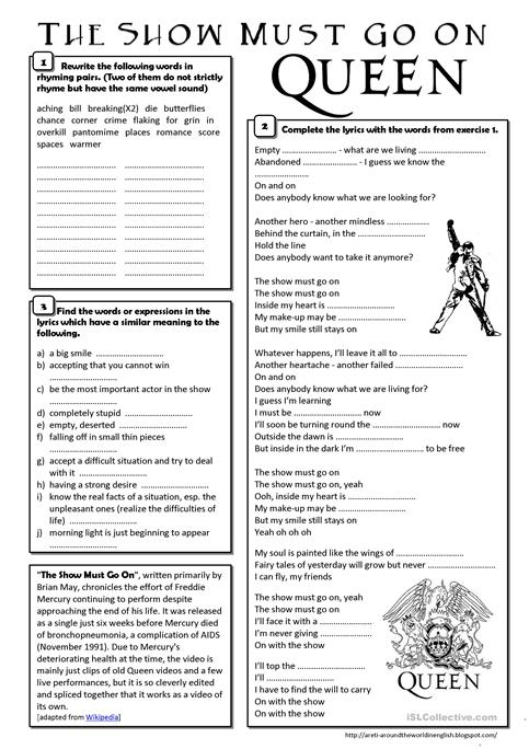 Song The Show Must Go On Queen Worksheet Free Esl Printable