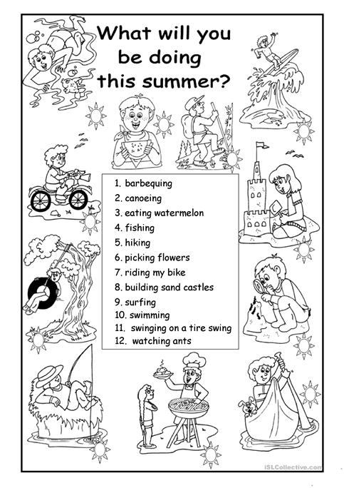What Will You Be Doing This Summer Worksheet Free Esl Printable