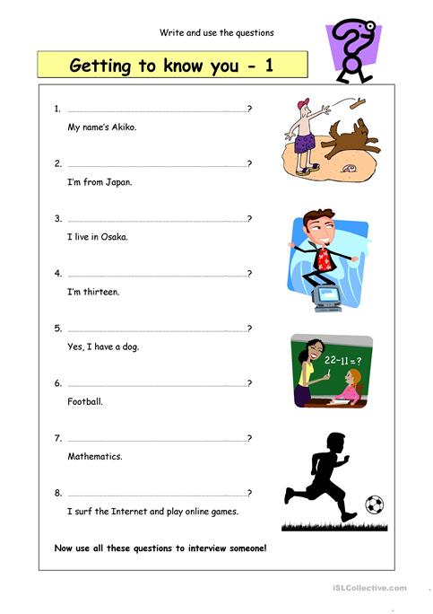 Write the questions: Getting to know you (1) worksheet - Free ESL ...