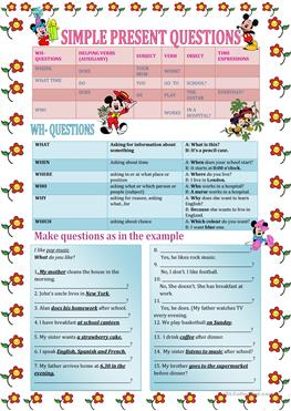 77 FREE ESL wh- questions worksheets
