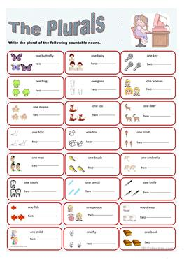 148 FREE ESL plurals worksheets