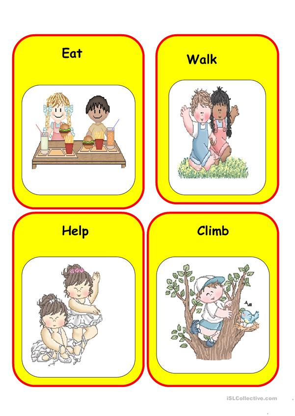 Action verbs game, 20 cards on 5 pages