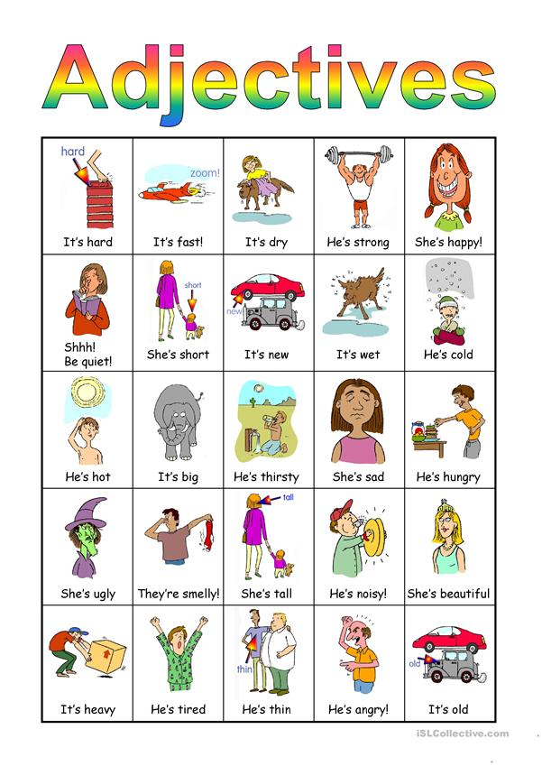 Adjectives Bingo set