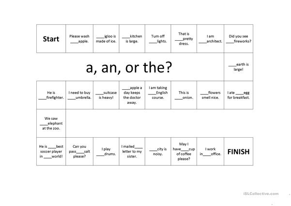 Article (a, an, and the) Game Board