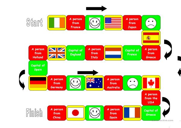Board game: Flags/capitals/nationalities