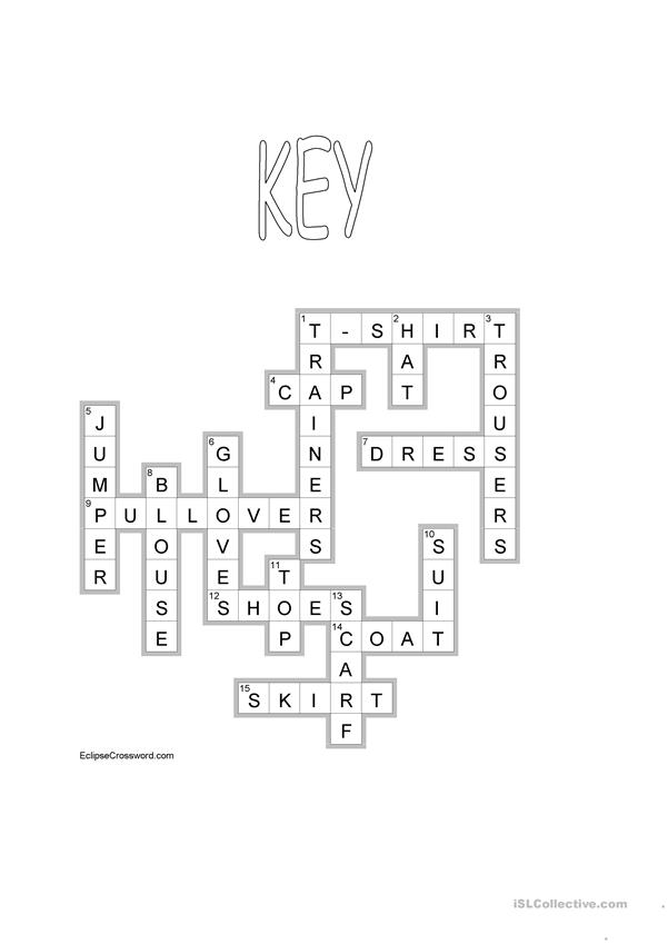 CLOTHES crossword + KEY