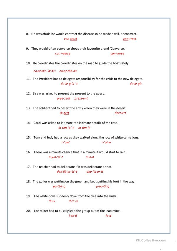 Homographs / Heteronyms