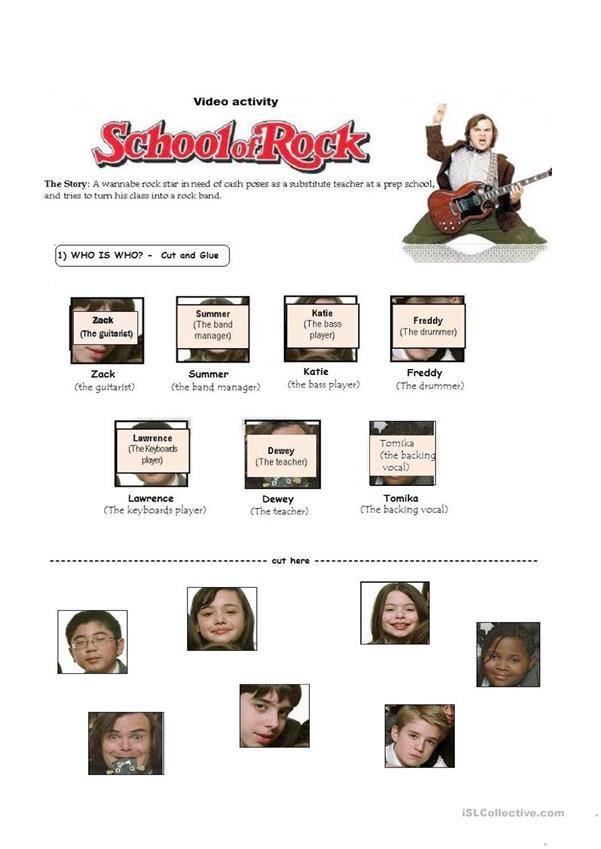 Movie activity - SCHOOL OF ROCK