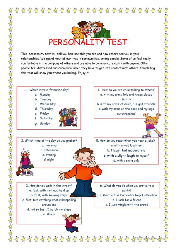 PERSONALITY TEST I.