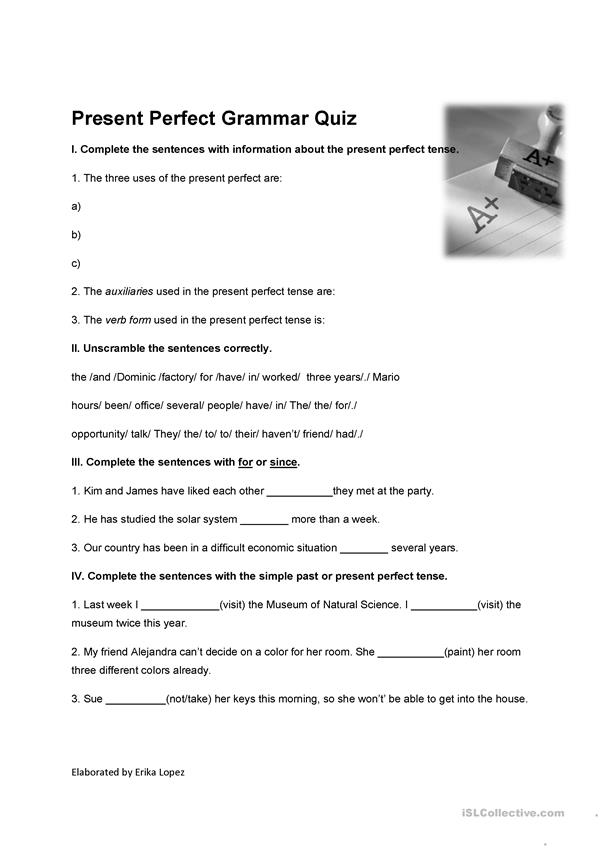Present perfect Grammar quiz