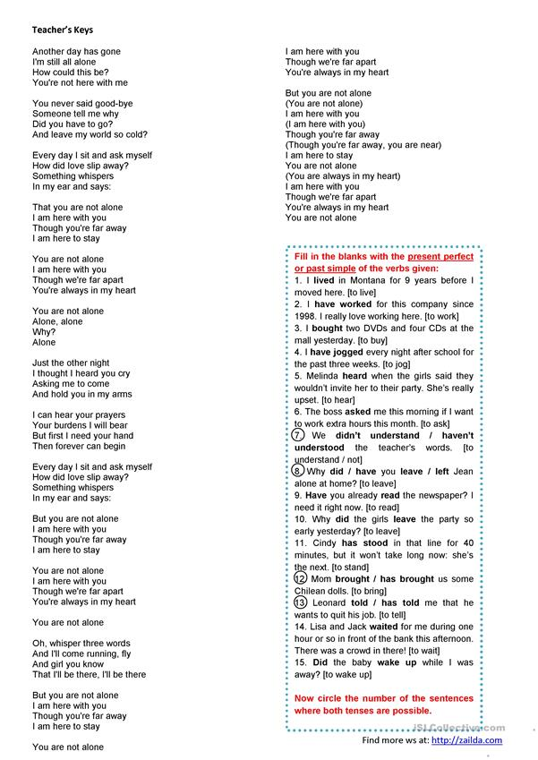 Songs4Class: Your're not alone - MJ - comprehension, listening and grammar tasks • past simple vs. present perfect