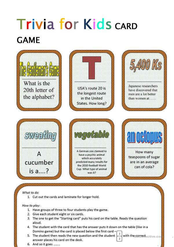 Trivia for Kids (1) CARD GAME