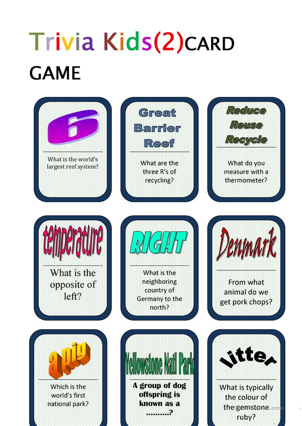 Trivia for Kids (2) Card Game