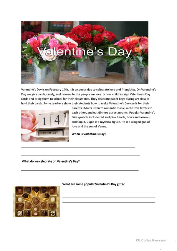 Valentine's Day - Reading Comprehension