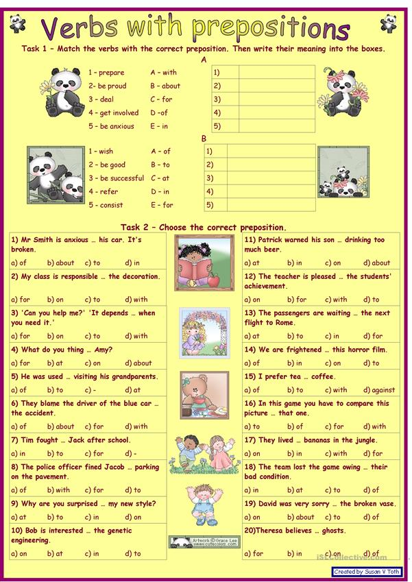 Verbs with prepositions 1 *** for intermediate and advanced learners *** with key *** fully editable