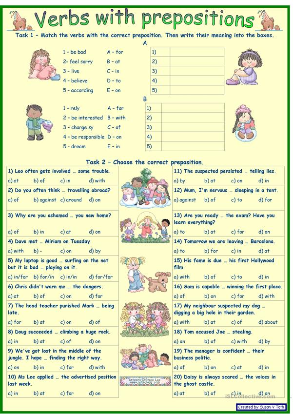 Verbs with prepositions 2 *** for intermediate and advanced learners *** with key *** fully editable