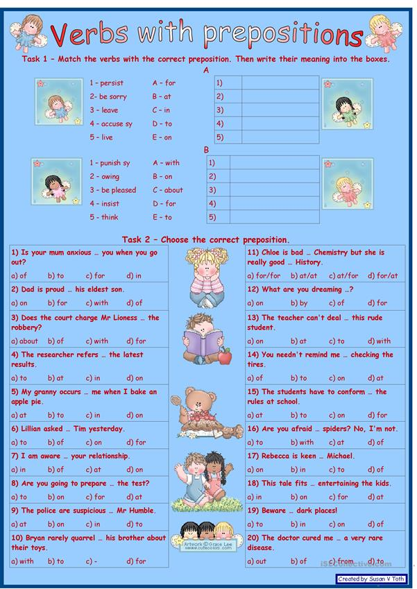 Verbs with prepositions 3 *** for intermediate and advanced learners *** with key *** fully editable