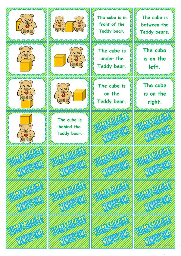 Where's the cube? preposition dominoes, memory cards, gap-filling, directions • editable • 5 pages