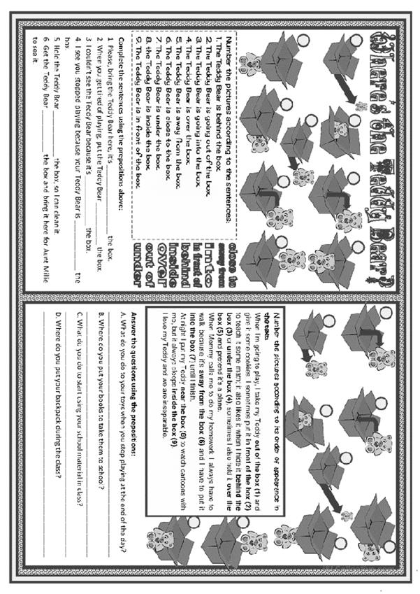 Where's the Teddy Bear? - prepositions practice • 2 pages • B&W included