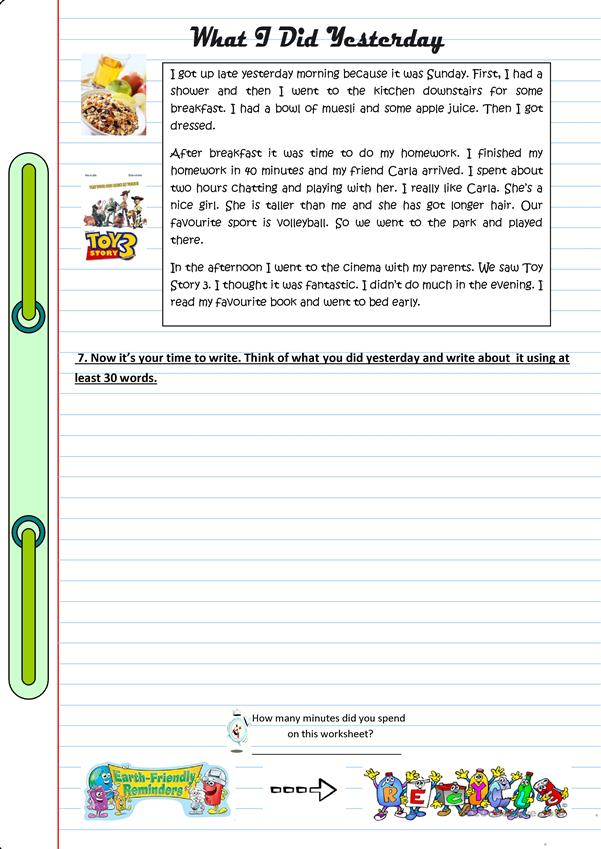 worksheet aout past tense
